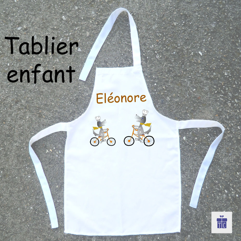 Tablier de cuisine enfant Chien à Vélo