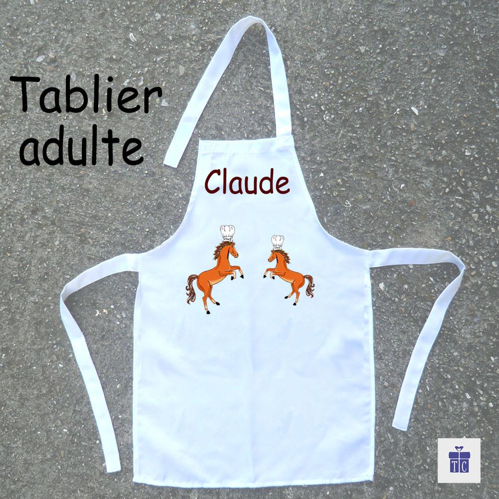 Tablier cuisine adulte Cheval cabré à personnaliser