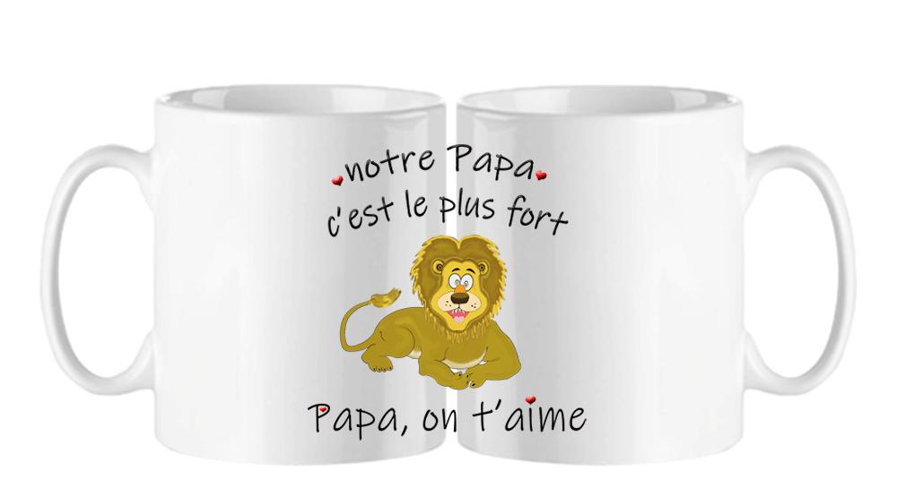 Mug notre papa c\'est le plus fort, Papa on t\'aime