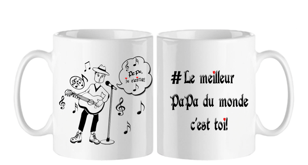 mug;blanc;ceramique;phrase;poeme;papa;guitare;musicien;guitariste