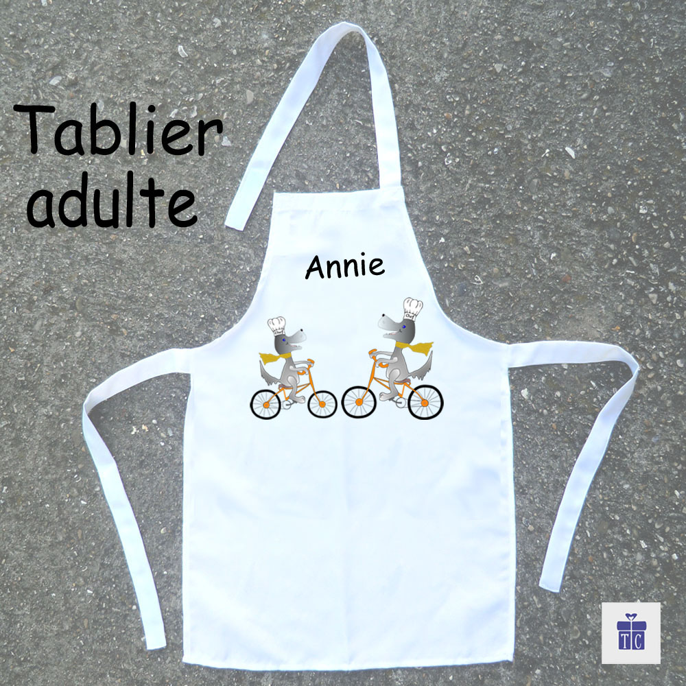 Tablier cuisine adulte Chien à vélo à personnaliser