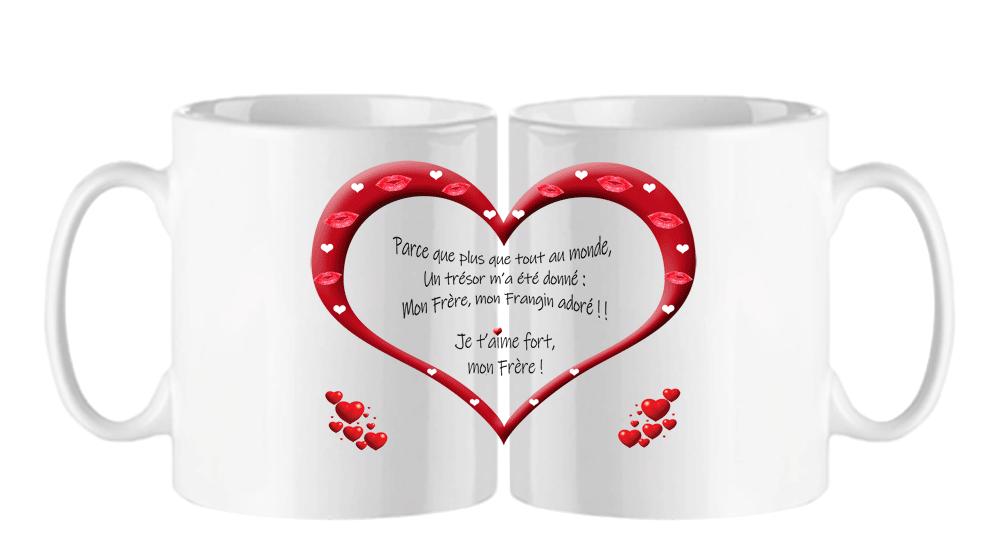 mug;blanc;ceramique;coeur;famille;amour;phrase;mon-frere;frangin;adore;tresor