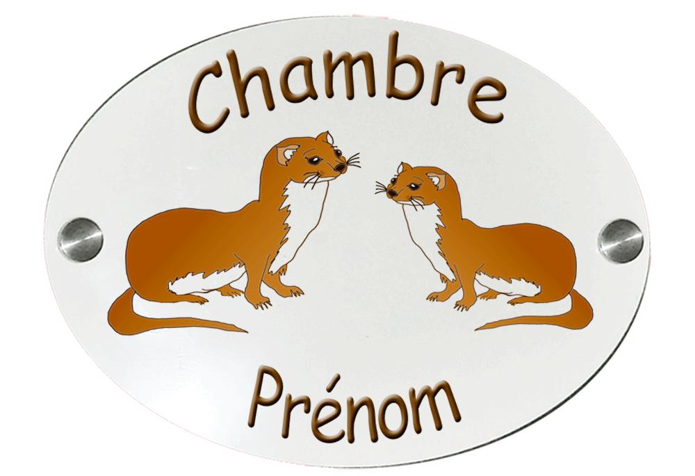 Plaque de Porte de chambre personnalisable Belette avec Prénom exemple Elisabeth