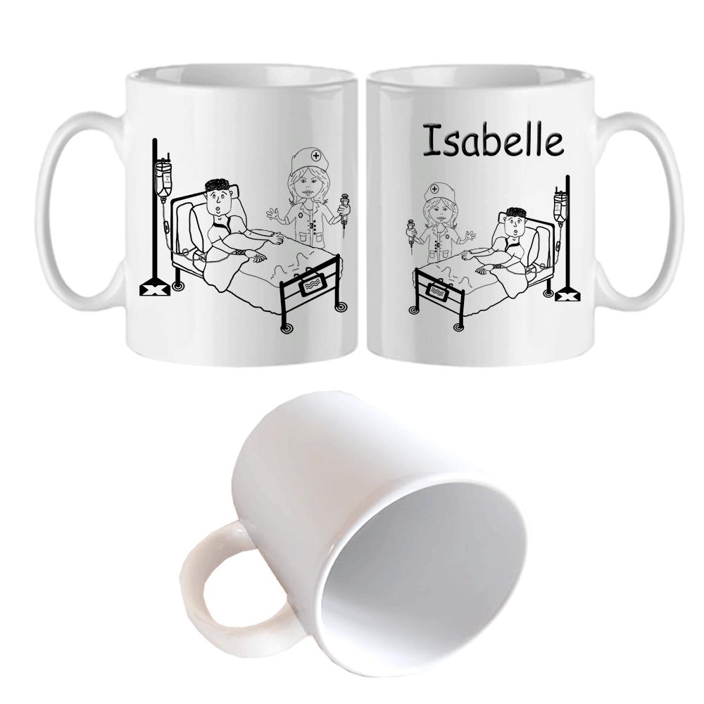 Mug Infirmière Personnalisable avec un Prénom Exemple Isabelle