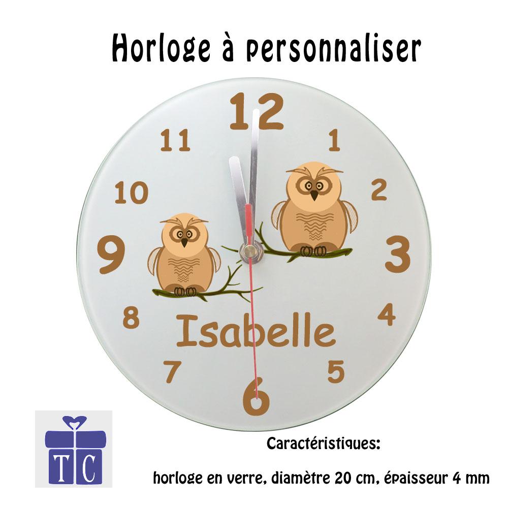 Horloge Chouette personnalisable avec un prénom