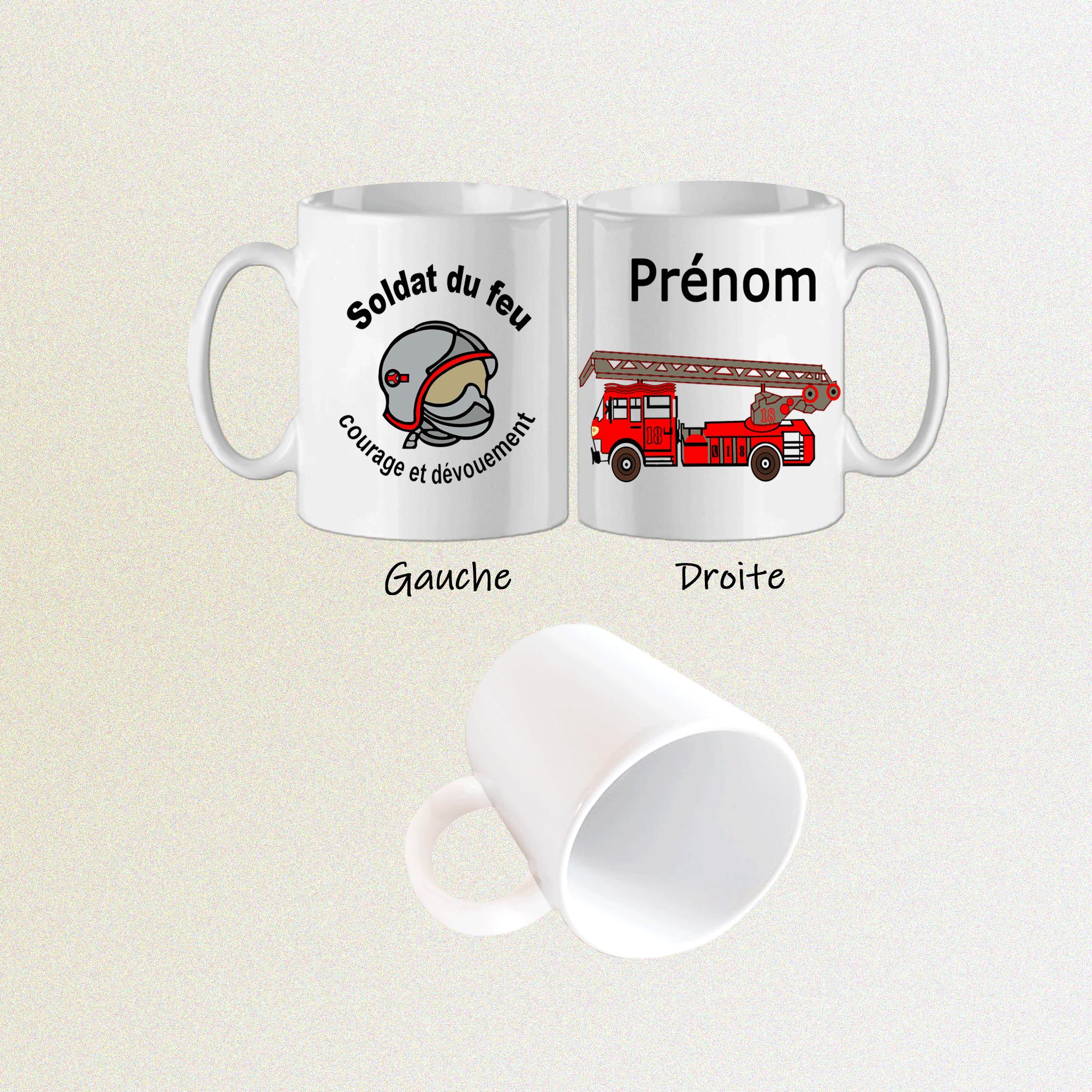 Mug Casque Pompier Personnalisable avec un Prénom Exemple Olivier