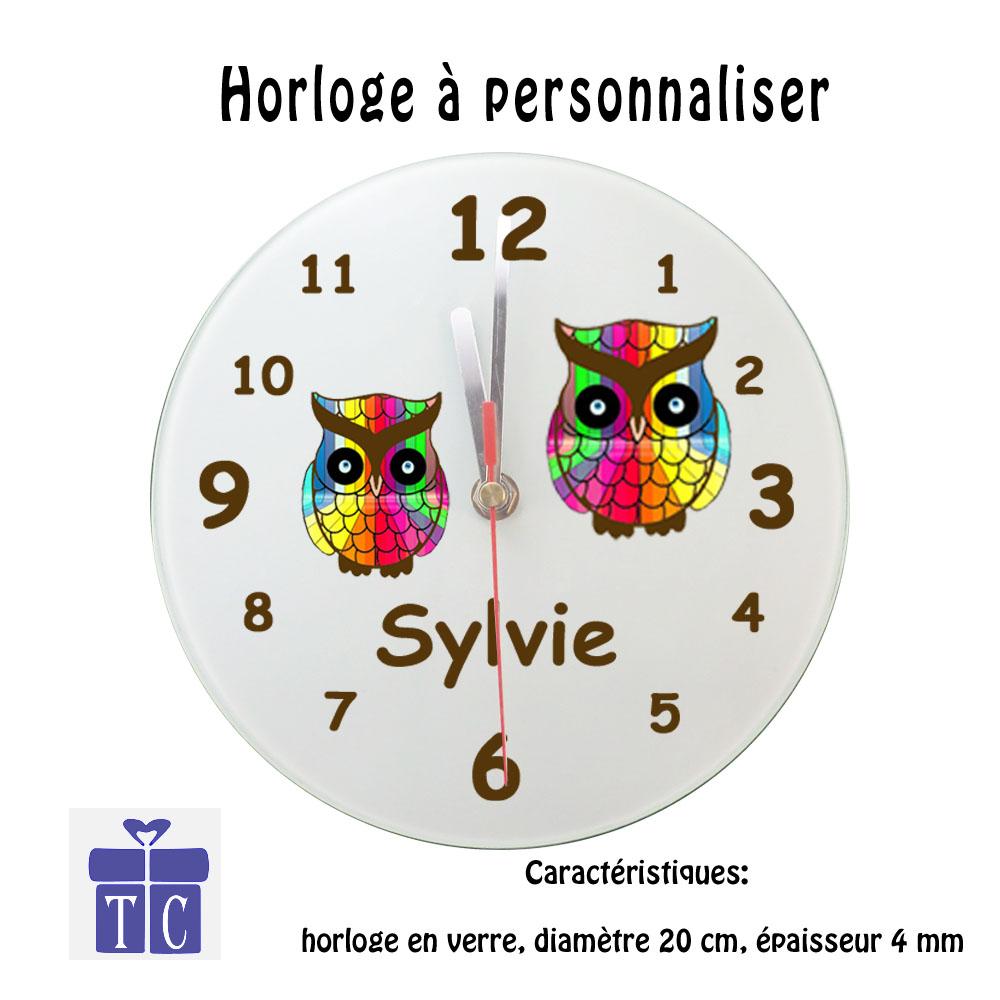 Horloge Chouette multicolore à personnaliser