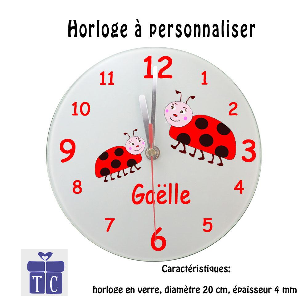 Horloge Coccinelle à personnaliser