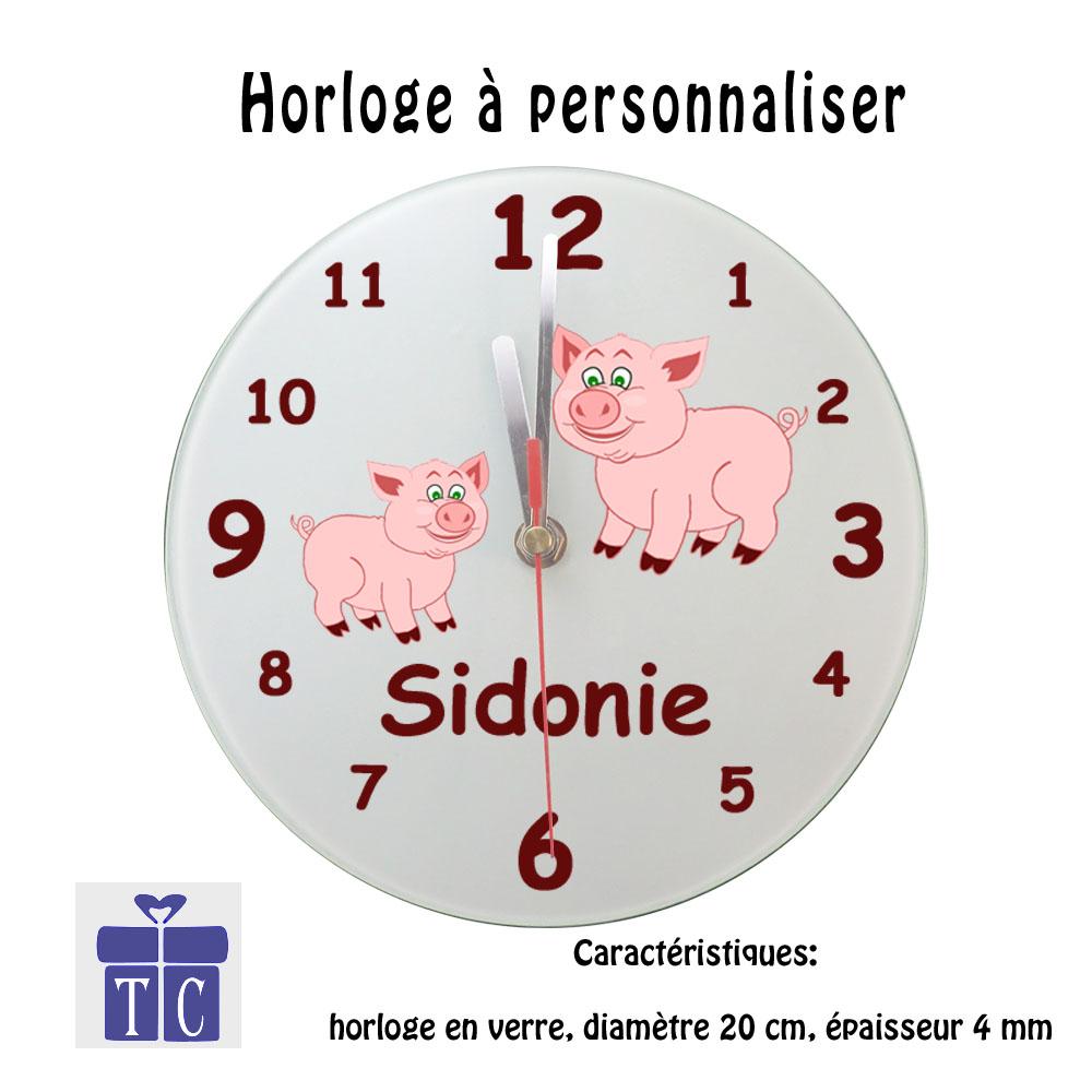 Horloge Cochon à personnaliser
