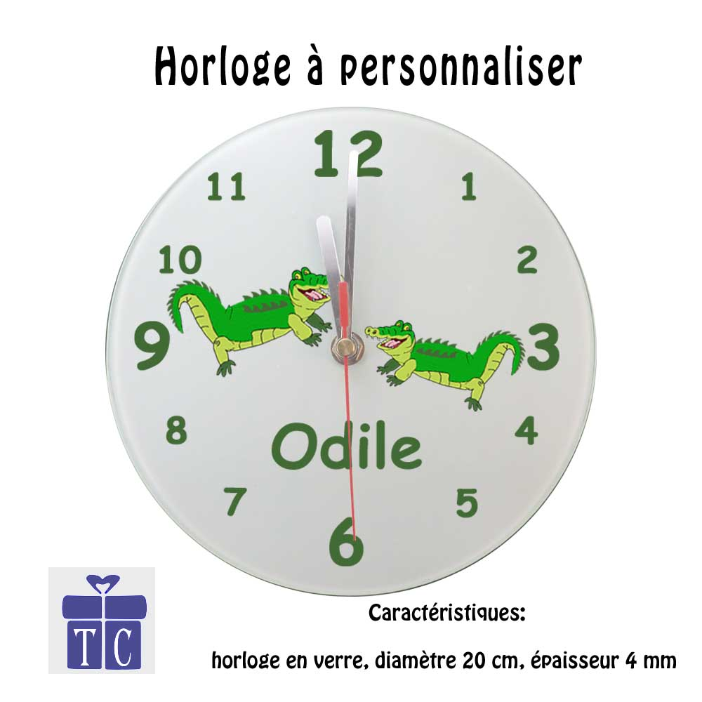 Horloge Crocodile à personnaliser