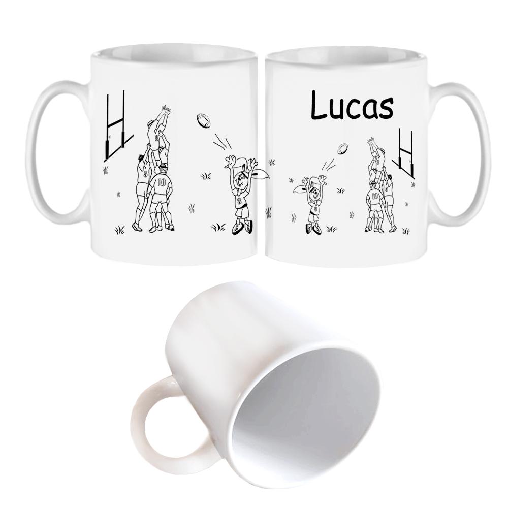 Mug Rugby touche personnalisé avec un prénom exemple Lucas