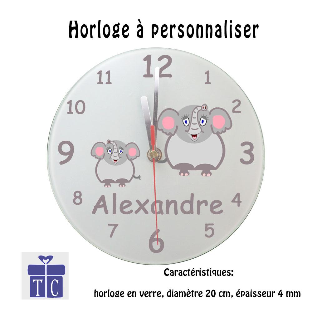 Horloge Eléphant à personnaliser
