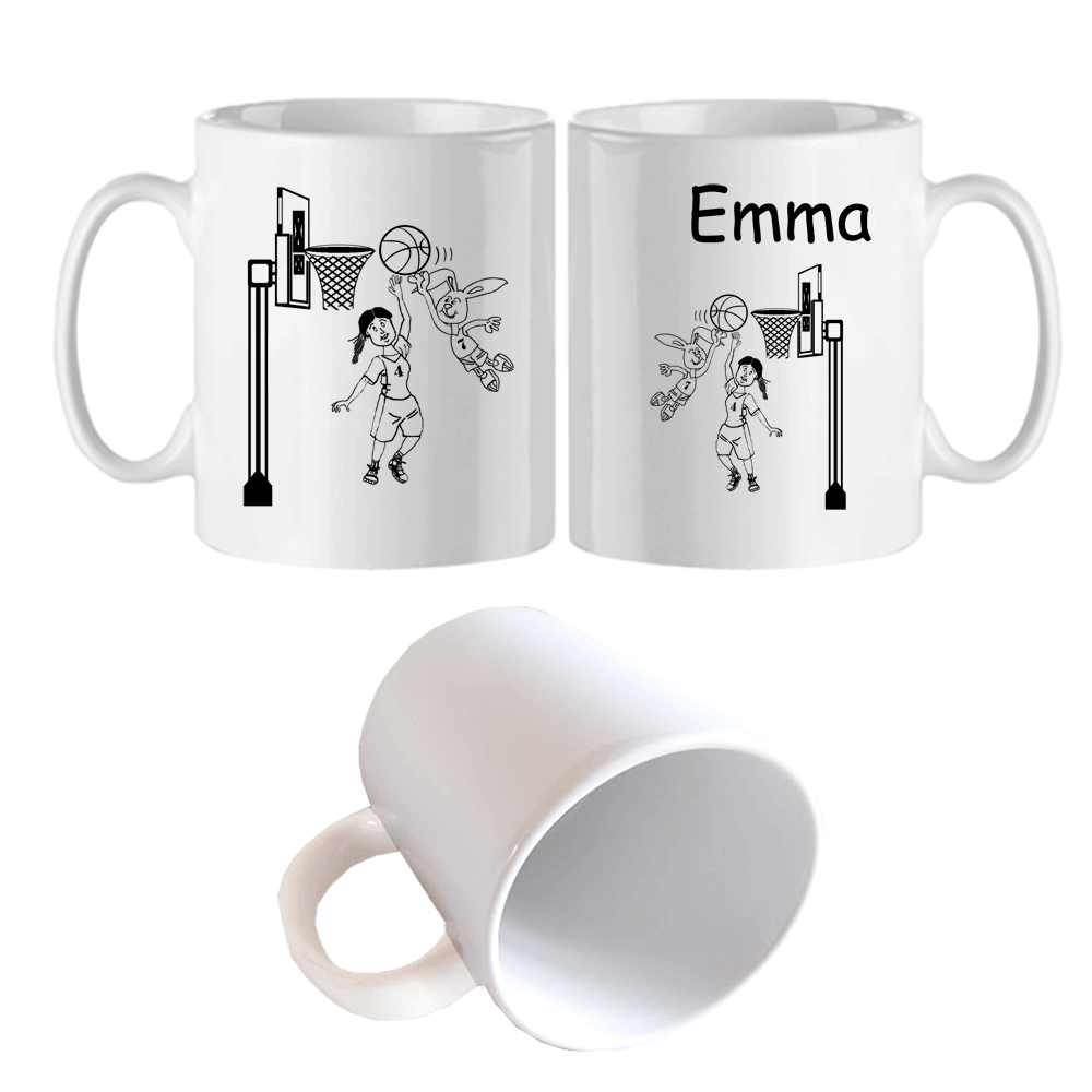 Mug Basketteuse  personnalisé avec un prénom exemple Emma