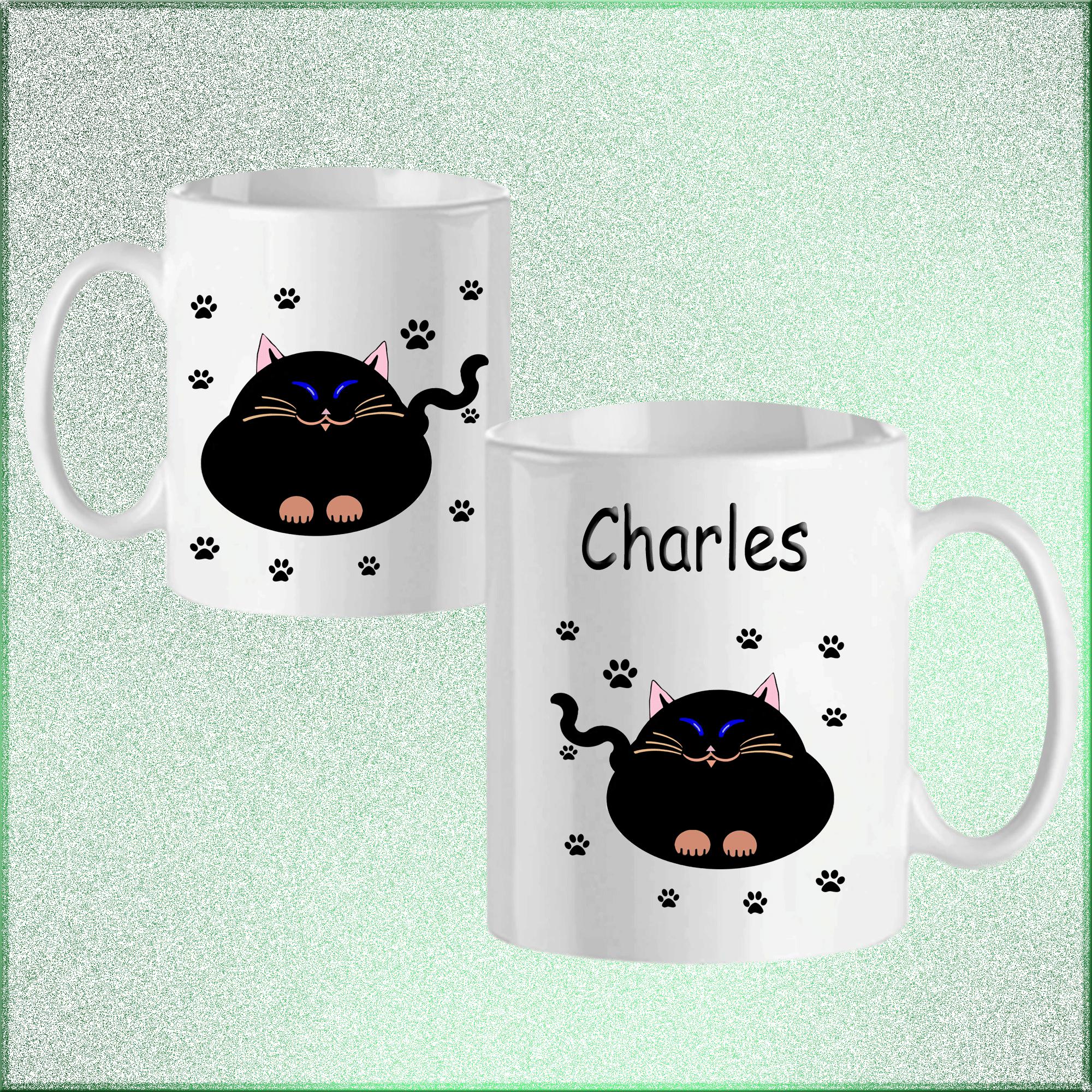 Mug Chat-personnalisé avec un prénom exemple Charles