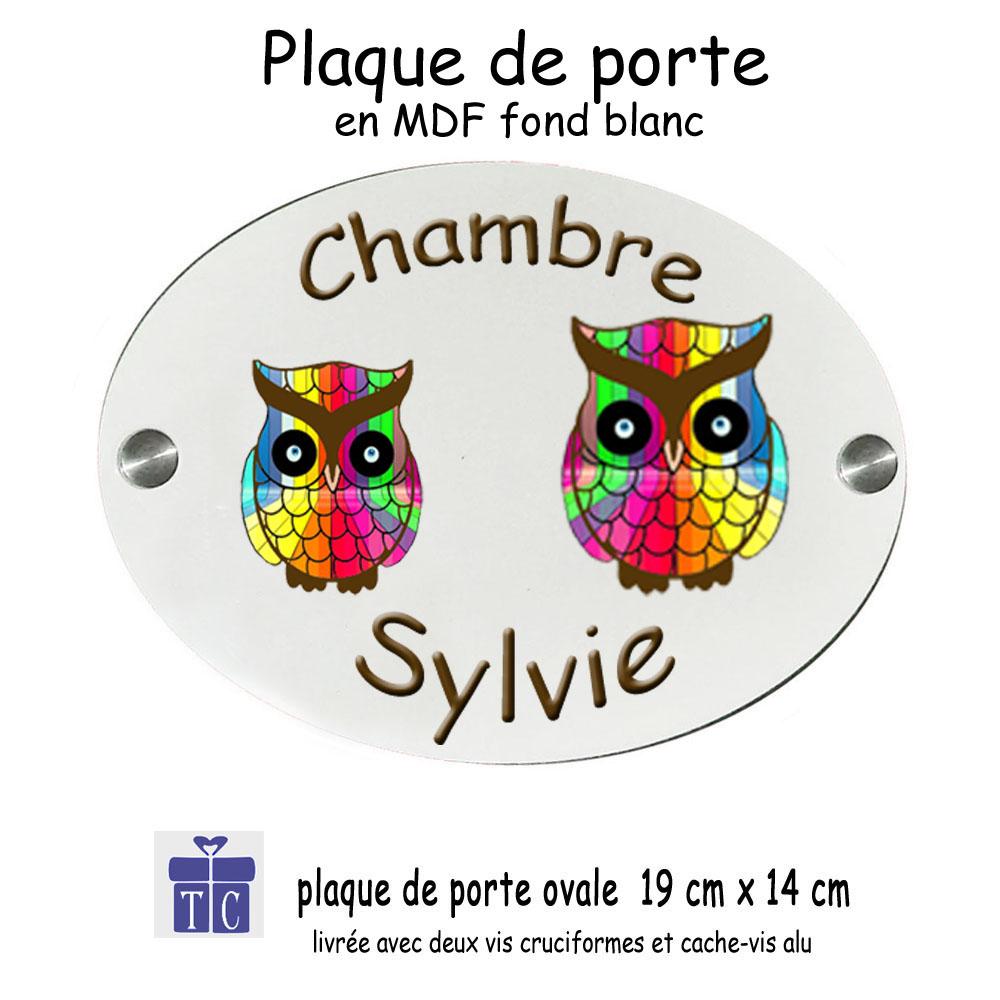 Plaque de Porte Chouette multicolore
