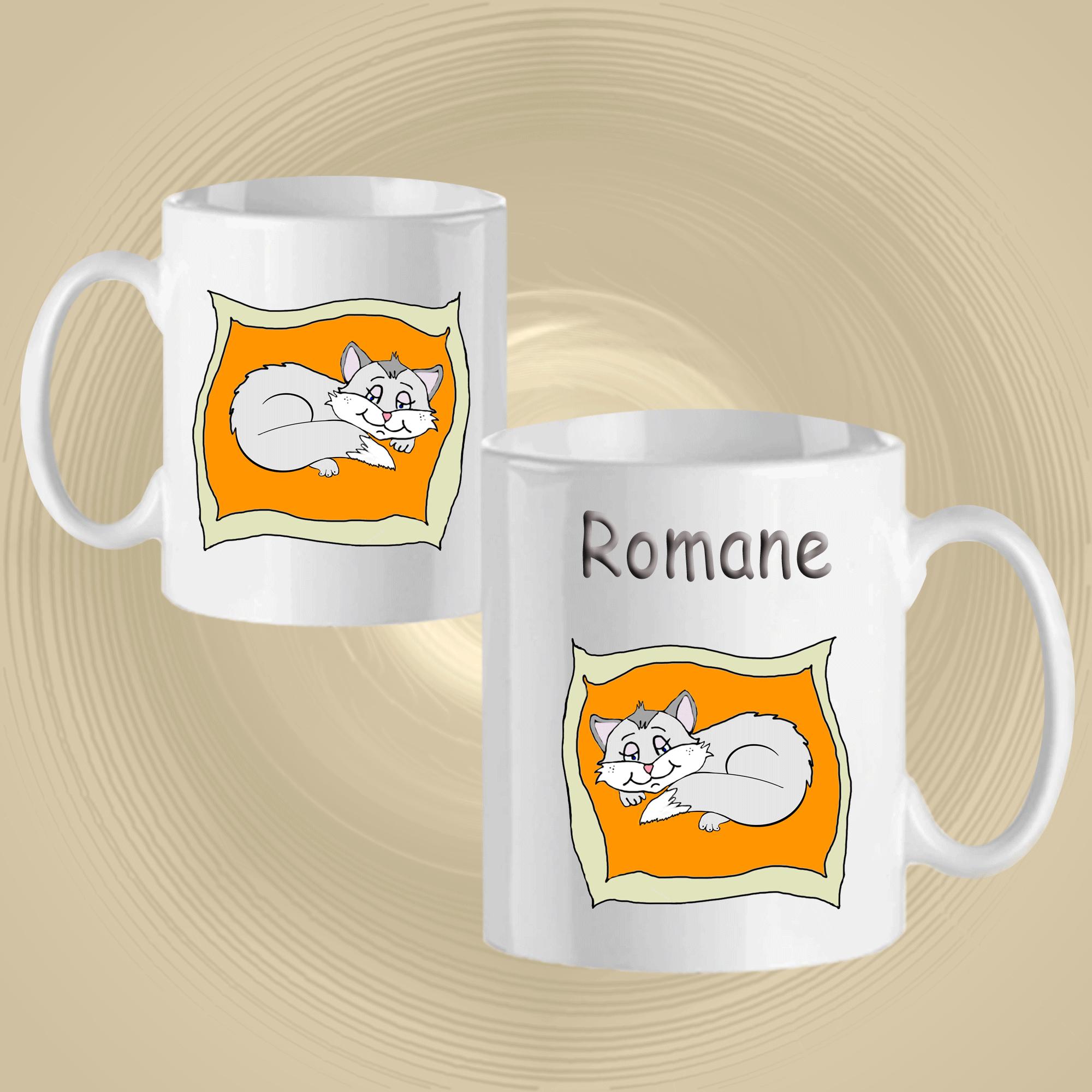 Mug Chat sur un coussin personnalisé avec un prénom exemple Romane