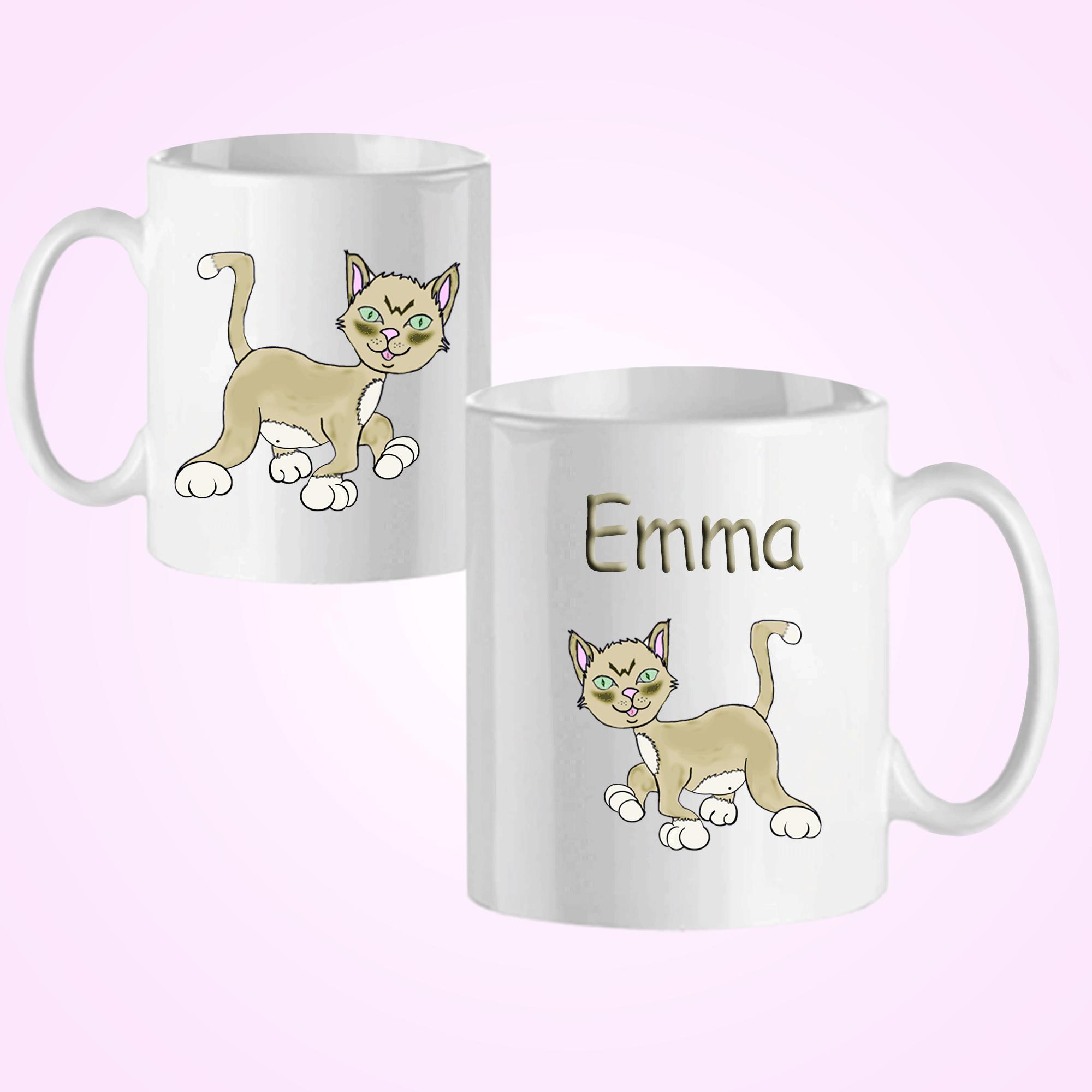 Mug Chat-personnalisé avec un prénom exemple Emma