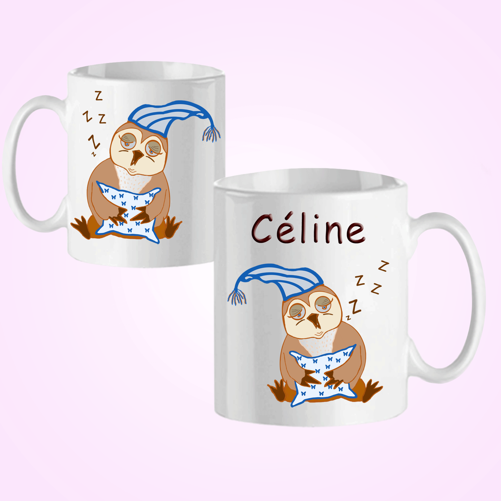 Mug Chouette bonnet personnalisé avec un prénom exemple Céline