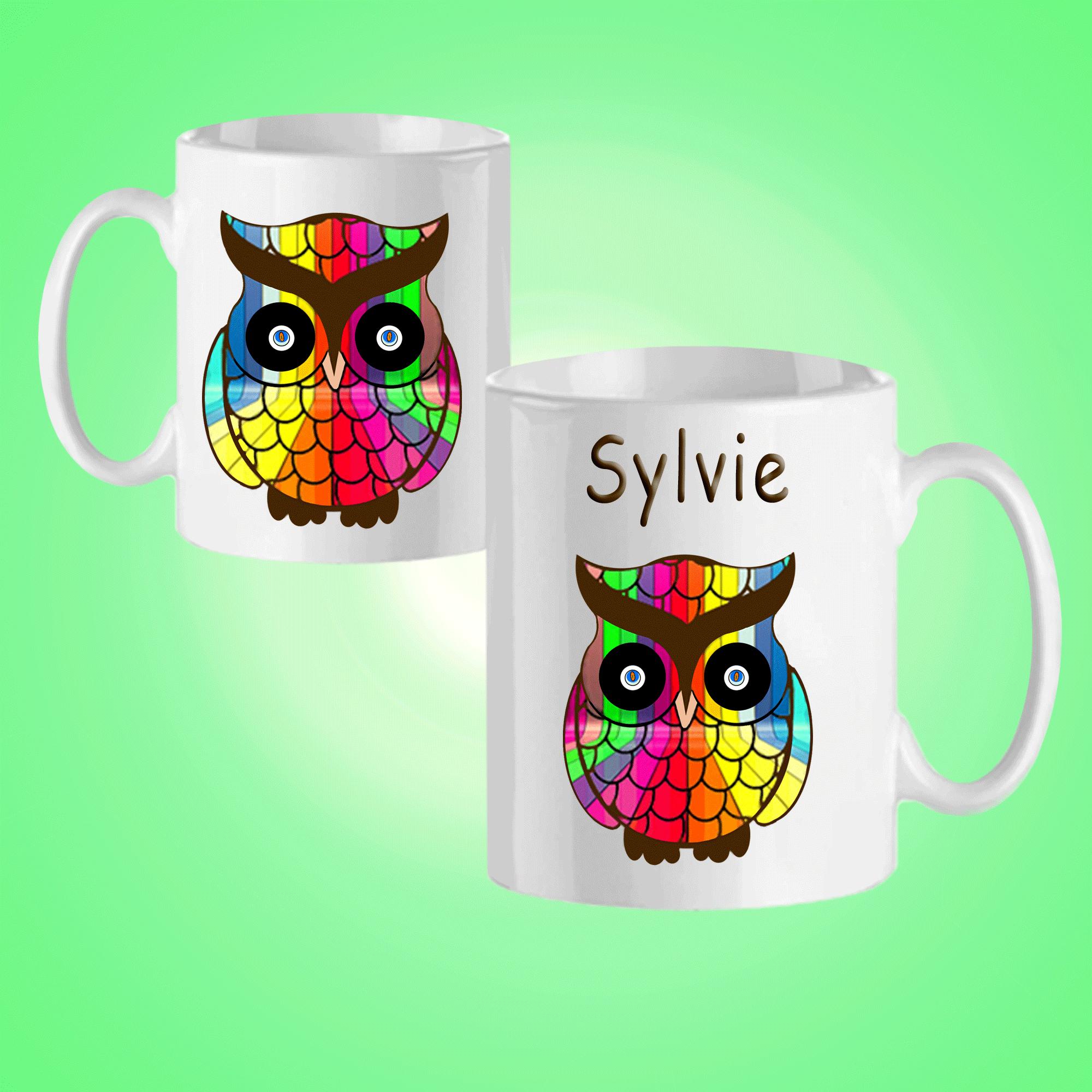 Mug Chouette Multicolor-personnalisé avec un prénom exemple Sylvie