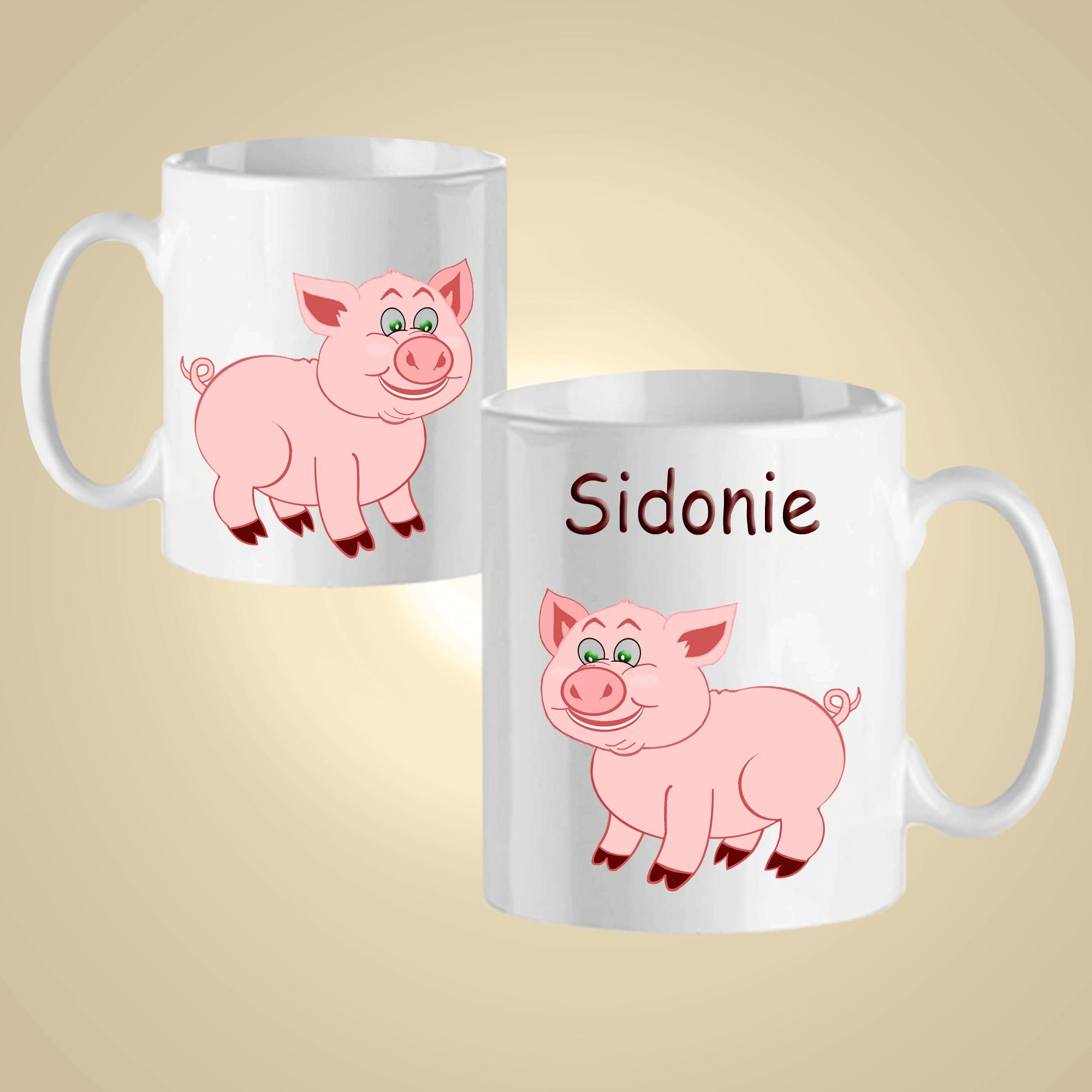 Mug Cochon-personnalisé avec un prénom exemple Sidonie