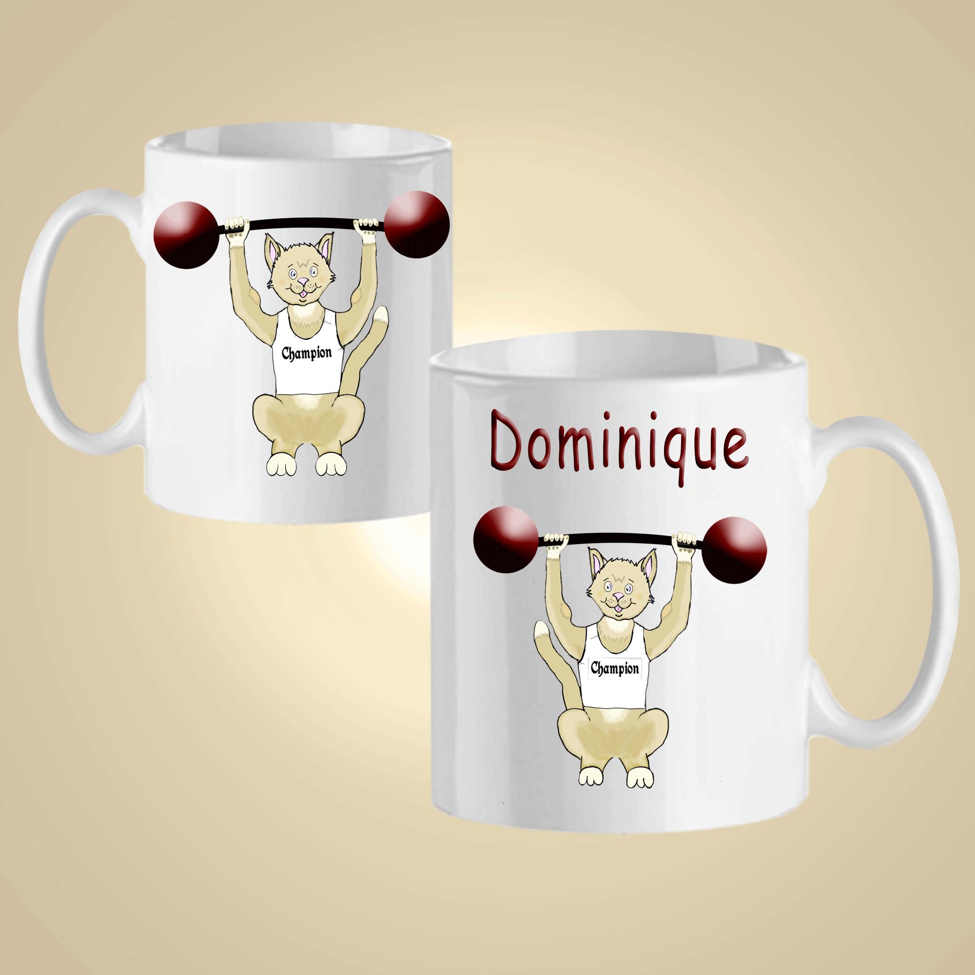 Mug Chat Haltère  personnalisé avec un prénom exemple Dominique