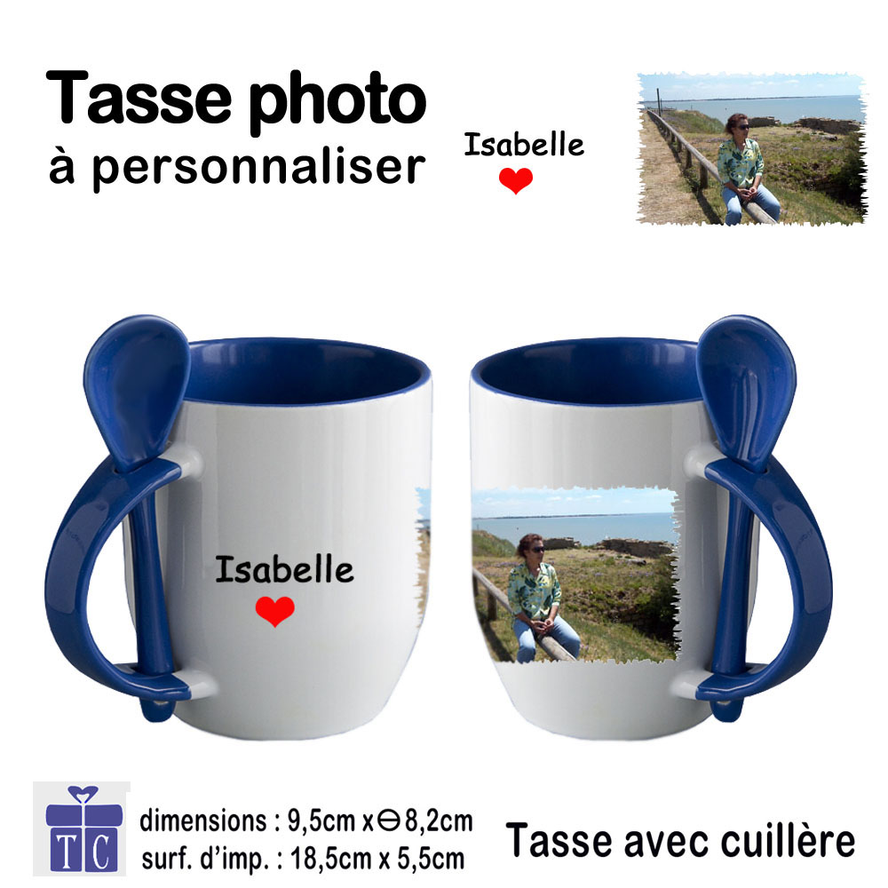 Mug bleu bicolore avec petite Cuillère personnalisable avec une photo