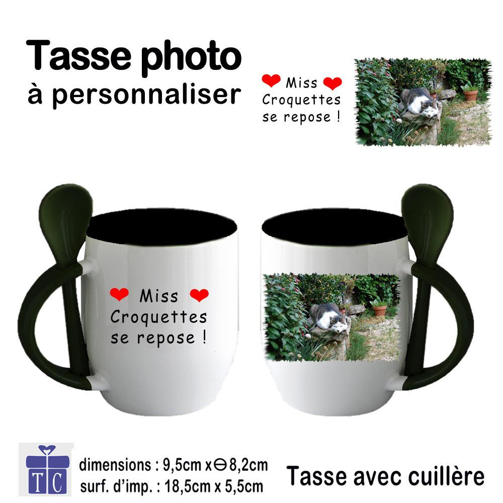 Mug noir photo bicolore avec petite Cuillère