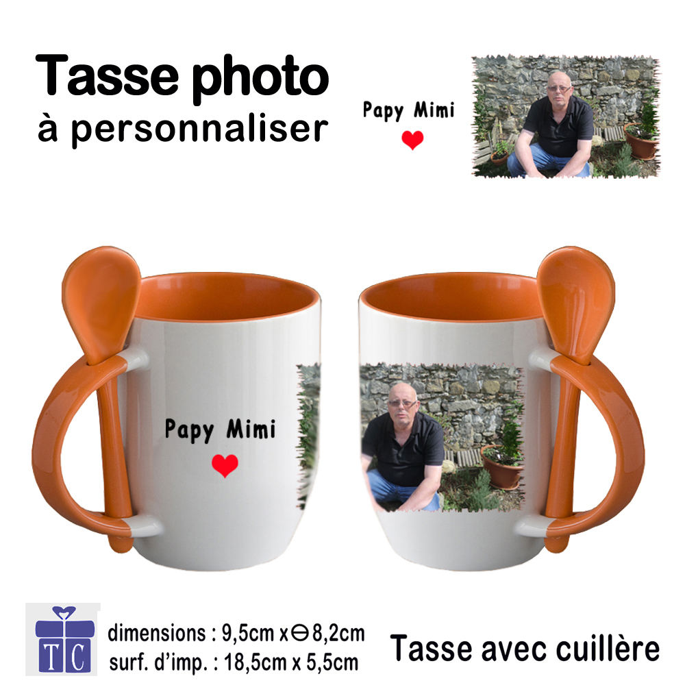 Mug orange bicolore  avec une photo