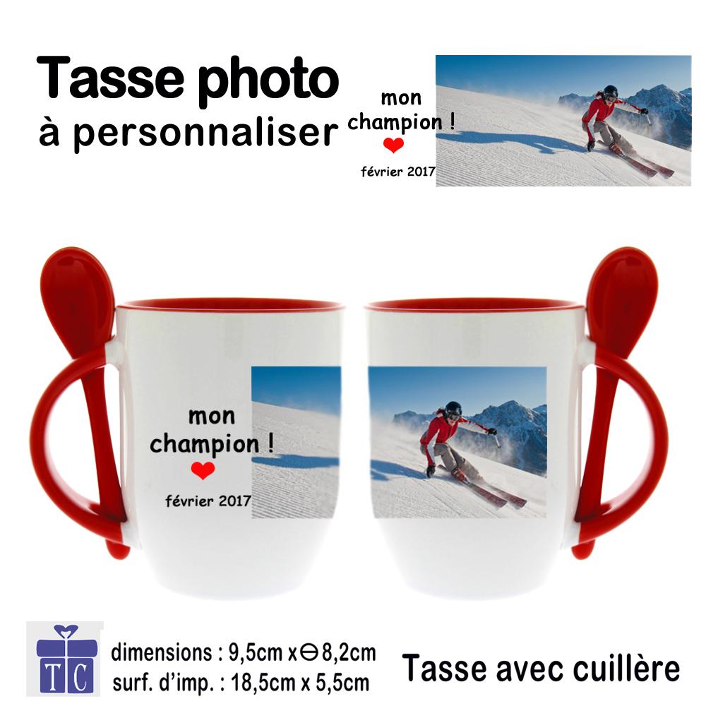 Mug rouge photo bicolore avec petite Cuillère