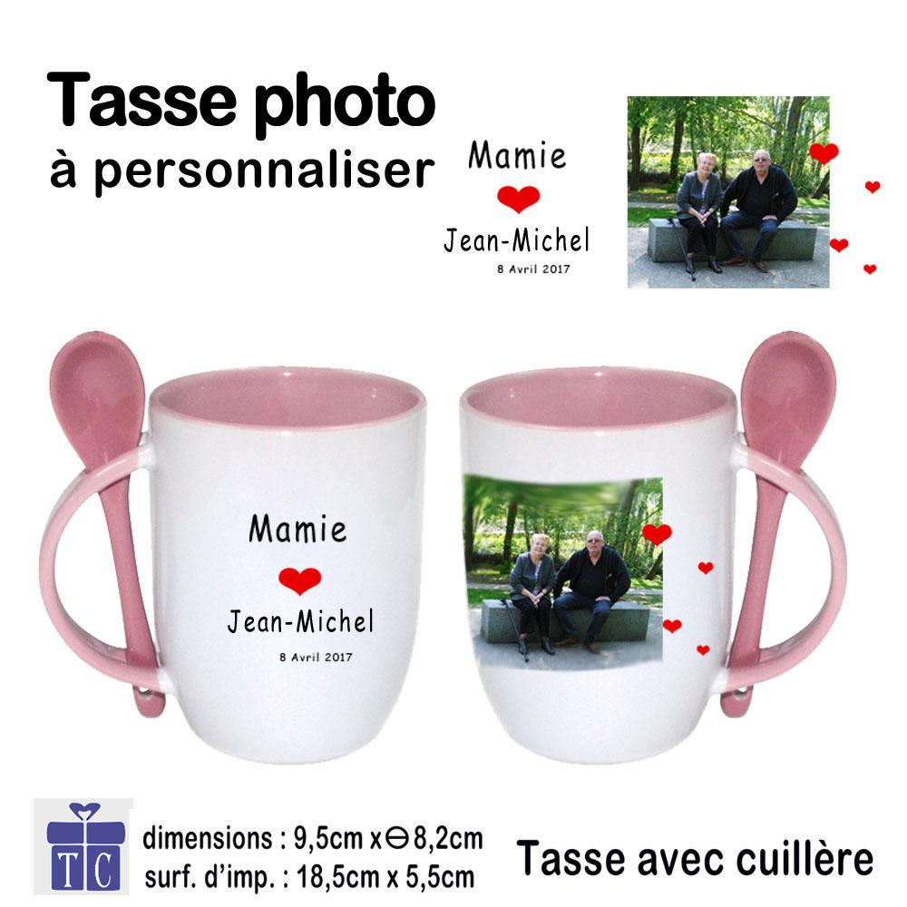 Mug rose photo bicolore avec petite Cuillère