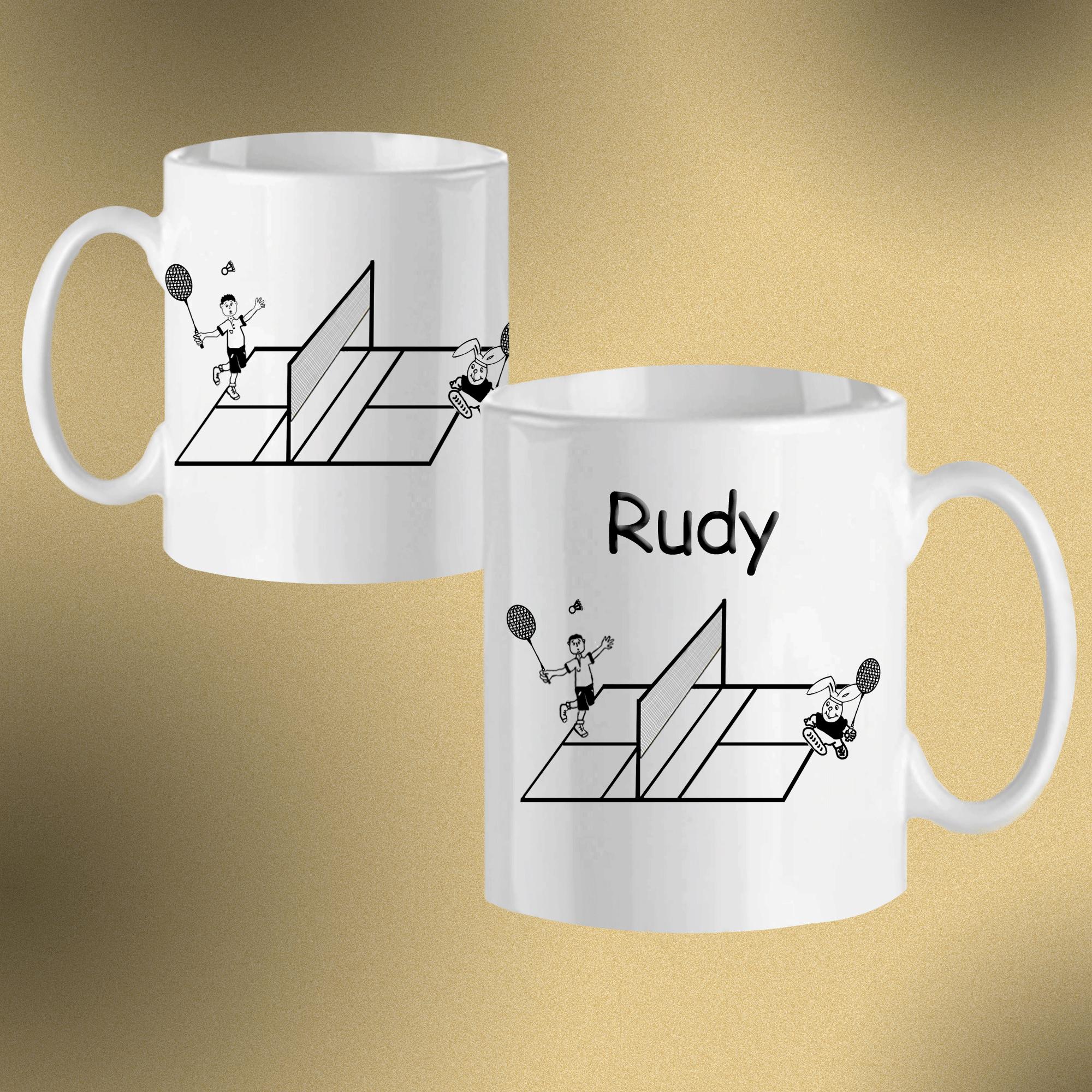 mug-blanc-badminton-personnalisable-personnalisation-personnalise-prenom-filet-raquette-volant-sport-rudy