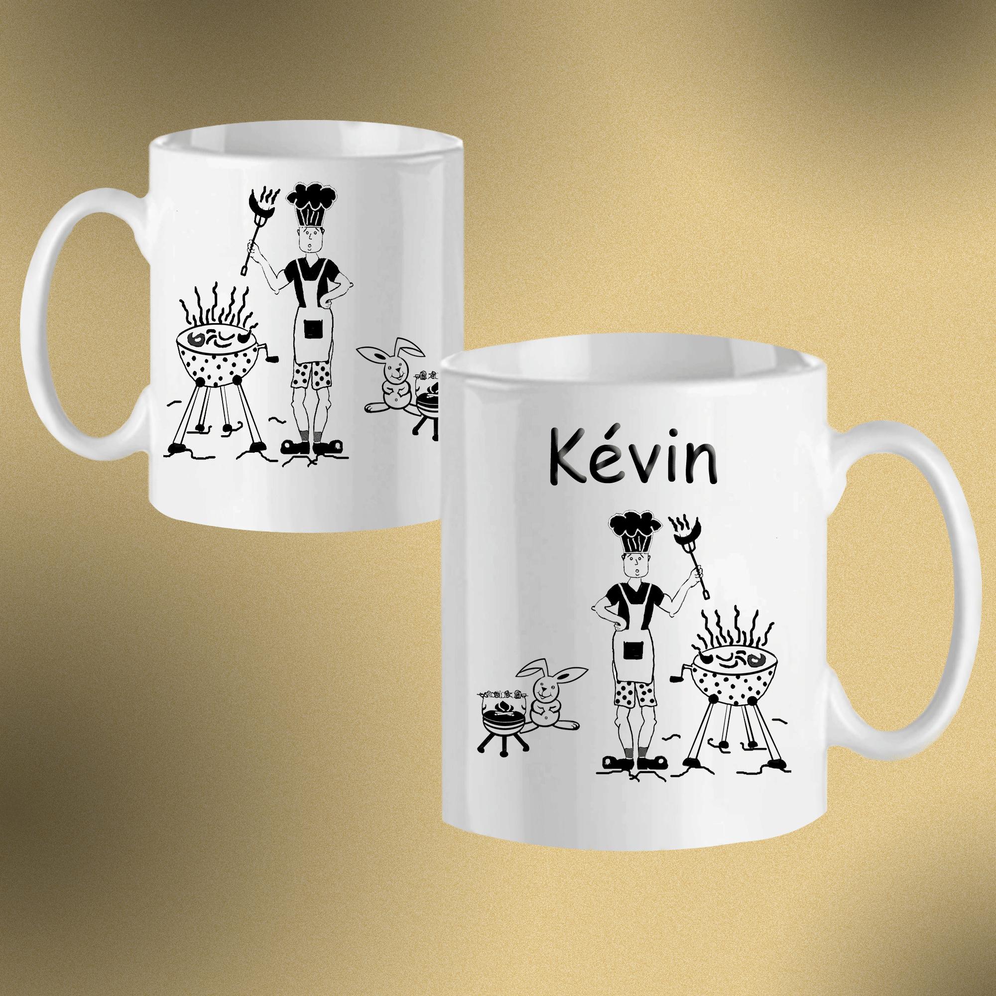 Mug Barbecue-personnalisé avec un prénom exemple Kévin