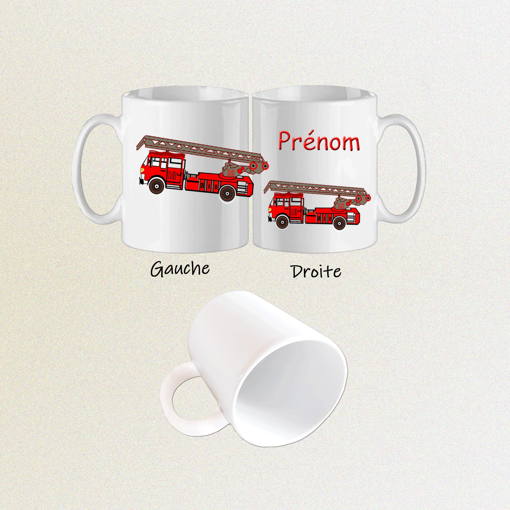 Mug camion Pompier-personnalisé avec un prénom exemple Thomas