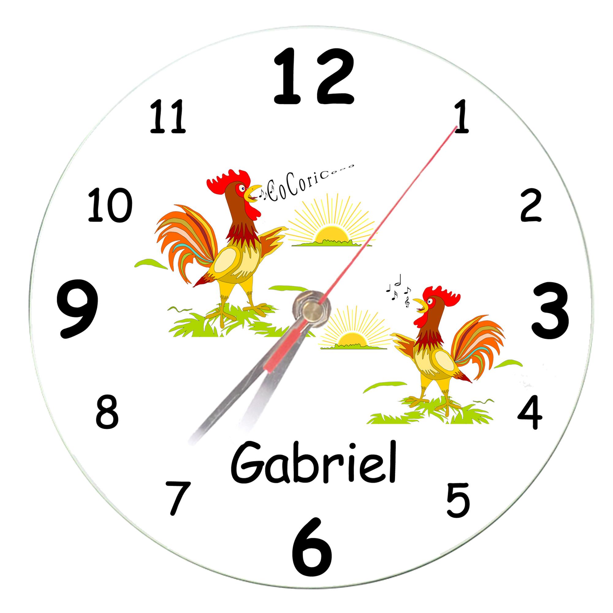 Horloge personnalisable Coq avec un Prénom