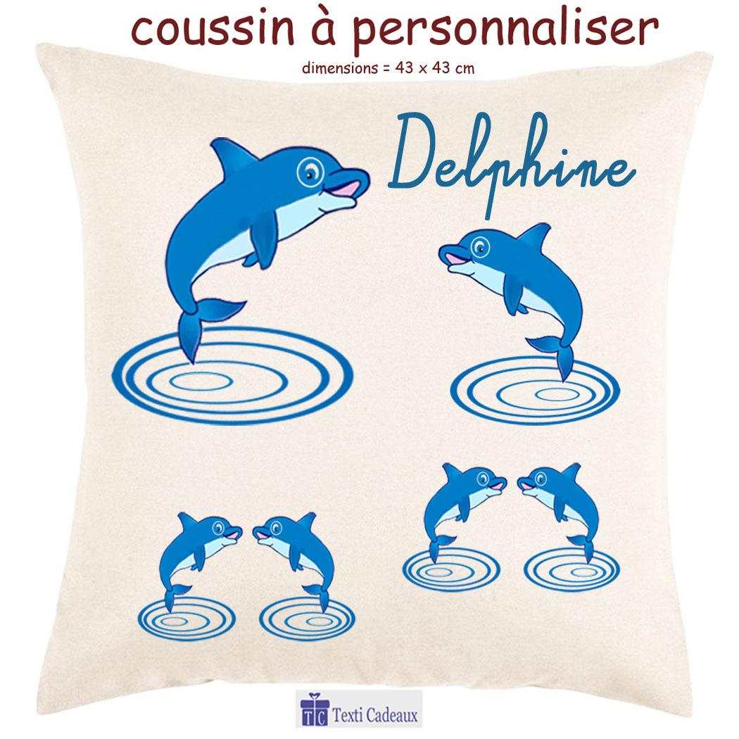 Coussin Dauphin personnalisable avec un prénom