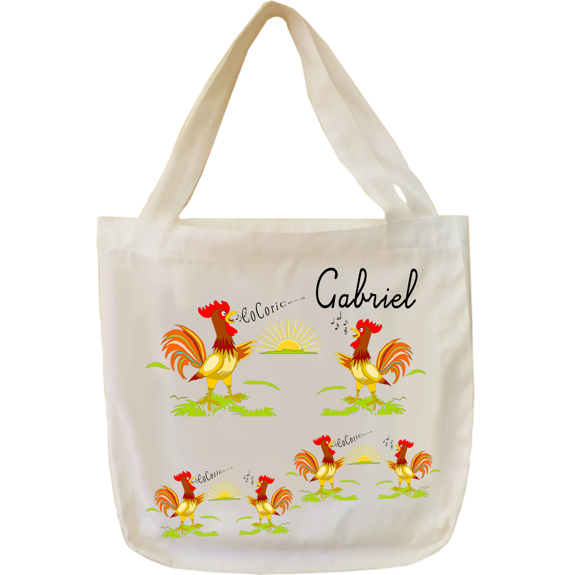 Tote Bags Coq à personnaliser exemple Gabriel