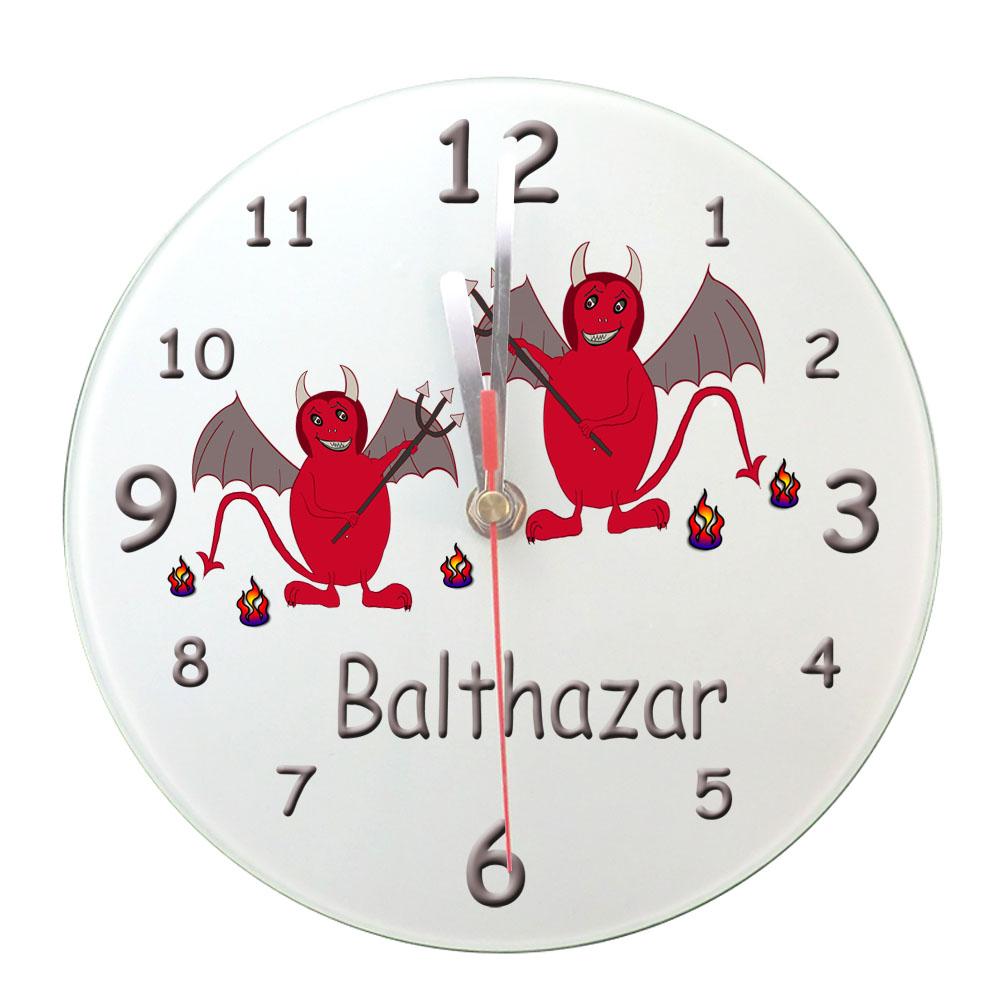 Personnalisez une horloge Diablotin avec un Prénom exemple Balthazar