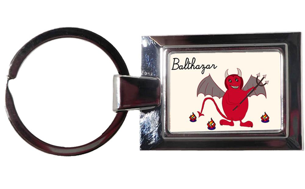 Porte clés Diablotin personnalisé avec prénom exemple Balthazar