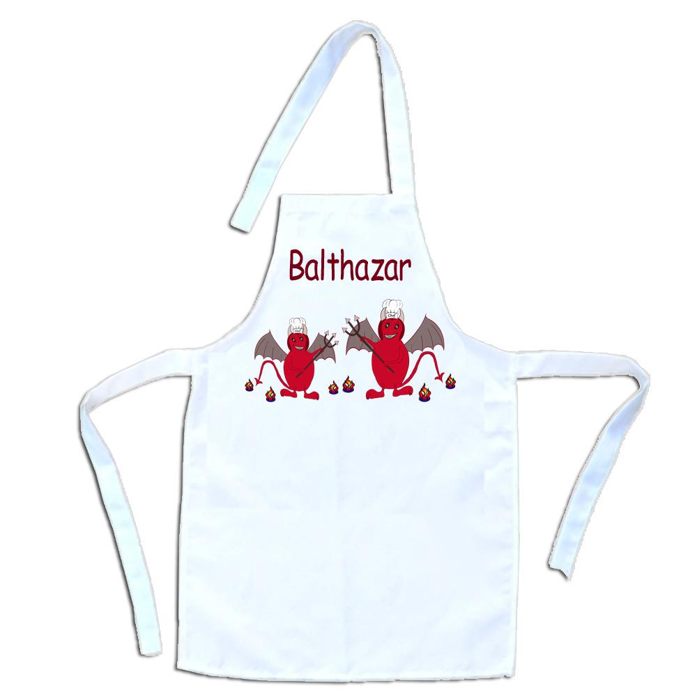 Tablier cuisine enfant Diablotin personnalisé prénom Balthazar