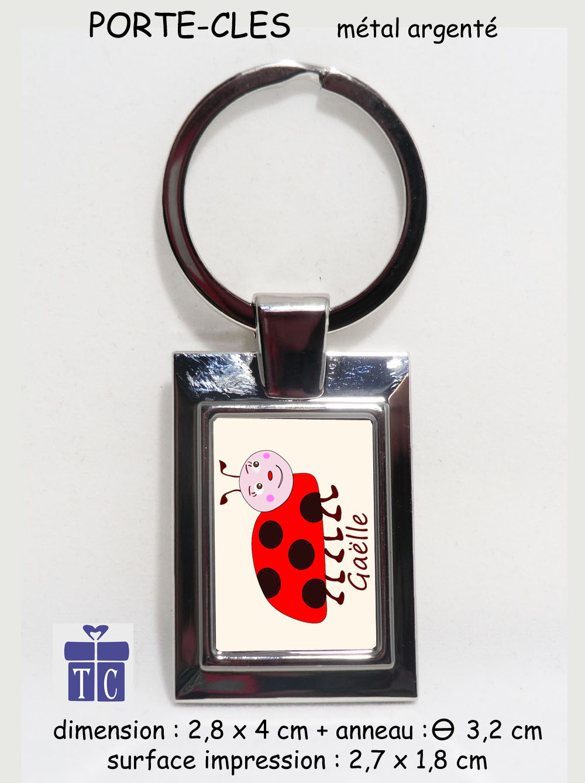Porte clés Coccinelle personnalisable avec prénom