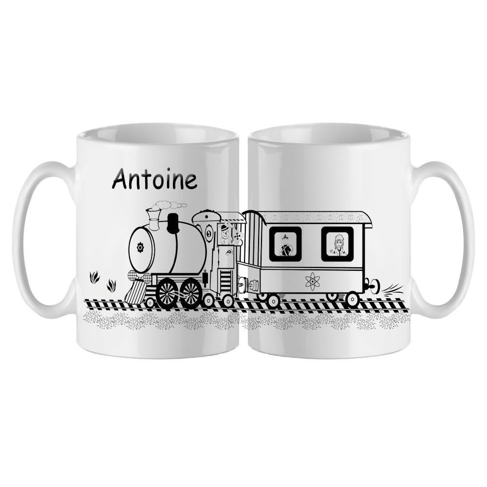 Mug cheminot Personnalisable avec un Prénom Exemple Antoine