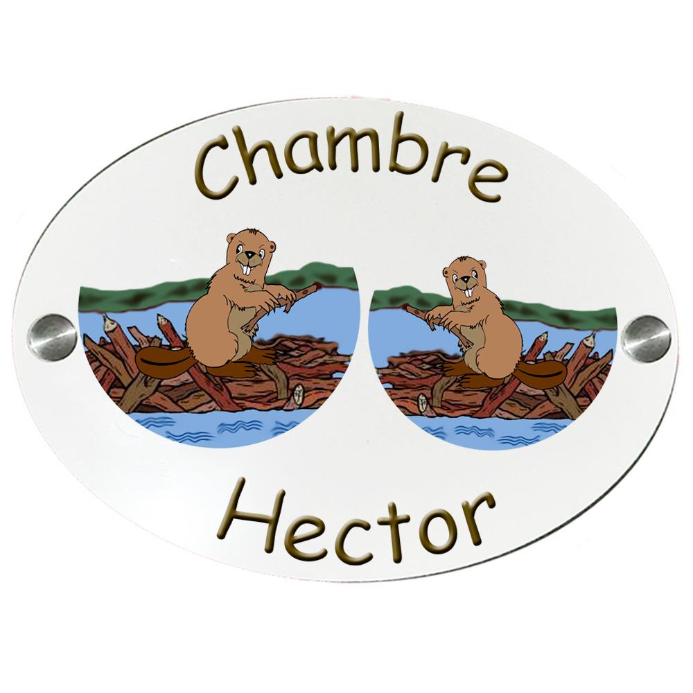 Plaque de Porte de chambre Castor  personnalisable avec Prénom exemple Hector