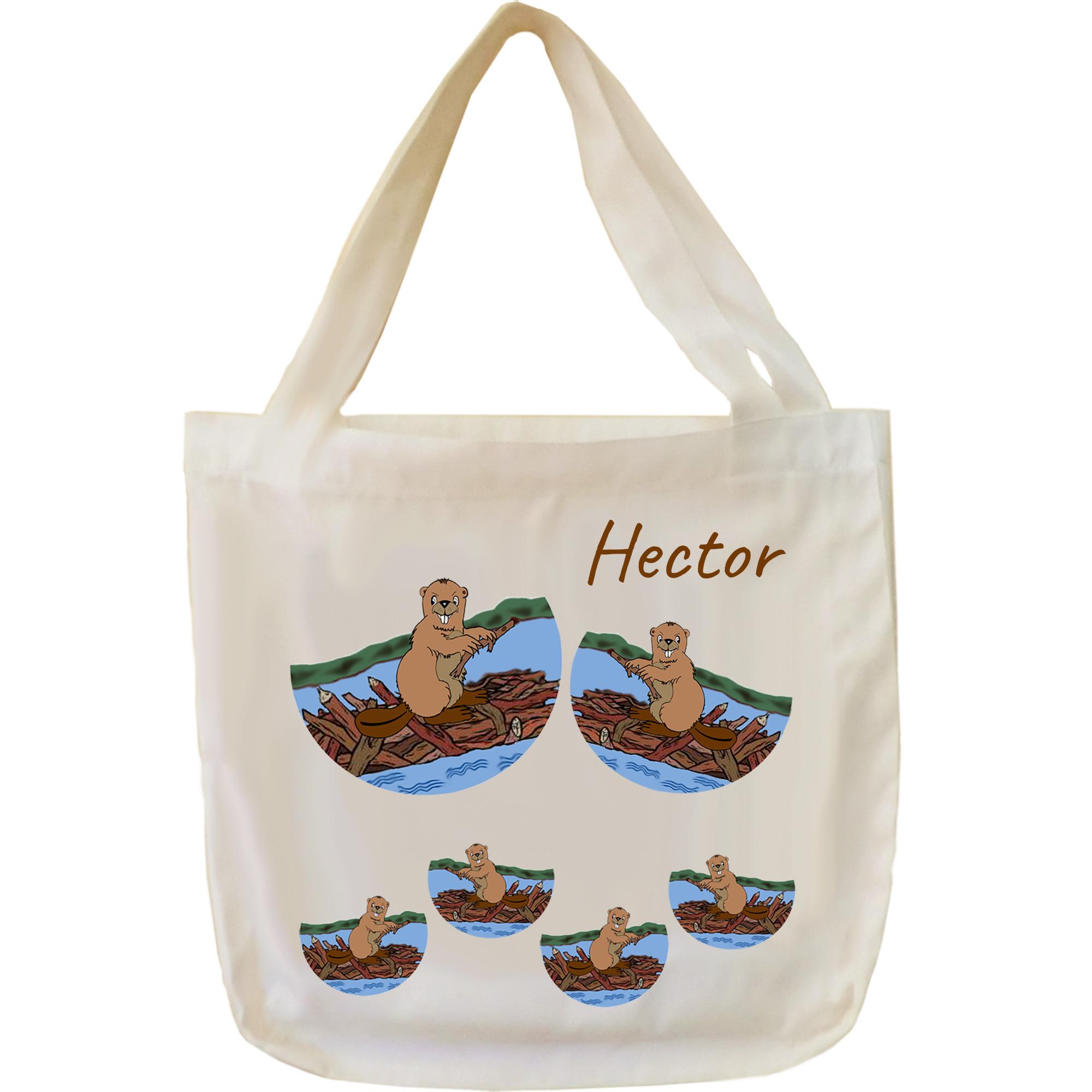 Tote Bags, Castor à personnaliser avec un prénom exemple Hector