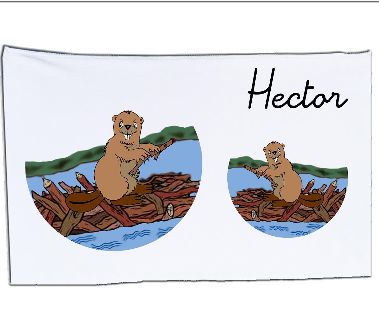 Serviette microfibre Castor à personnaliser comme exemple Hector