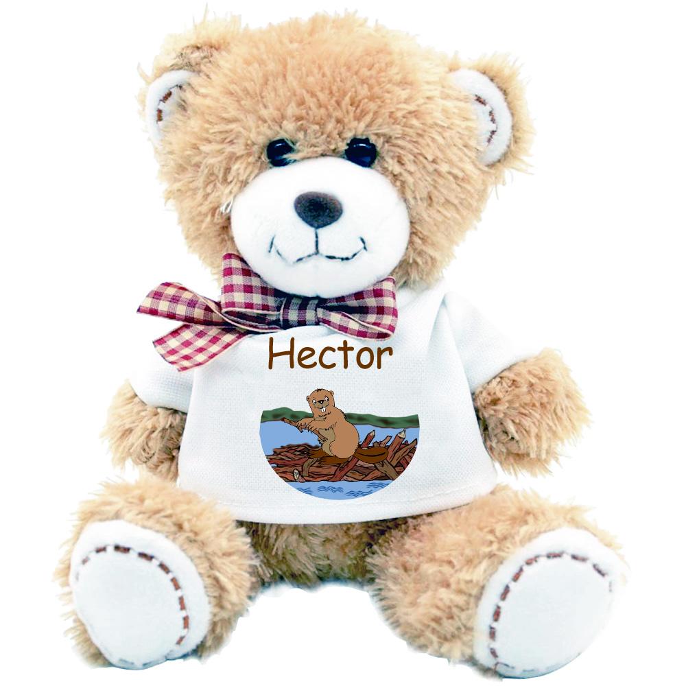 Peluche Nounours avec un Tee shirt Castor Personnalisable avec Prénom Exemple Hector