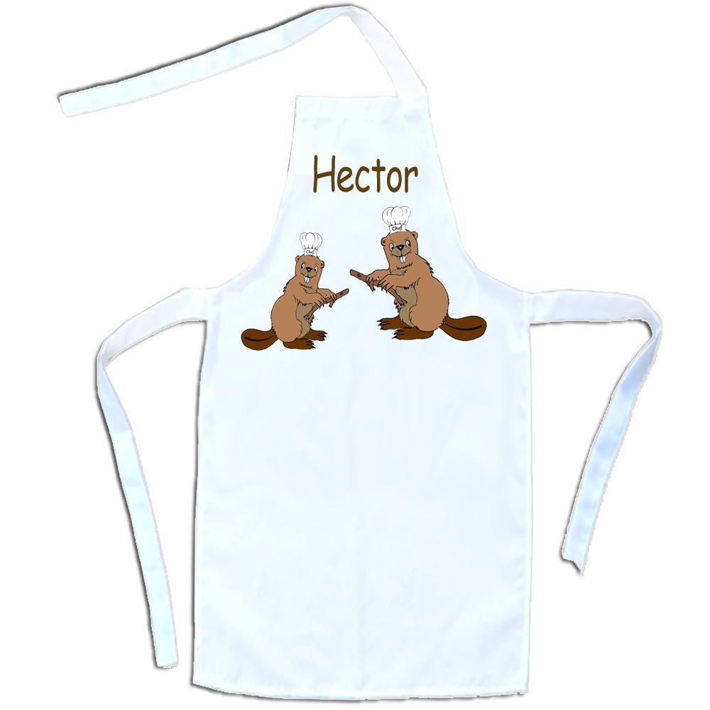 Tablier cuisine adulte Castor personnalisable avec un prénom exemple Hector