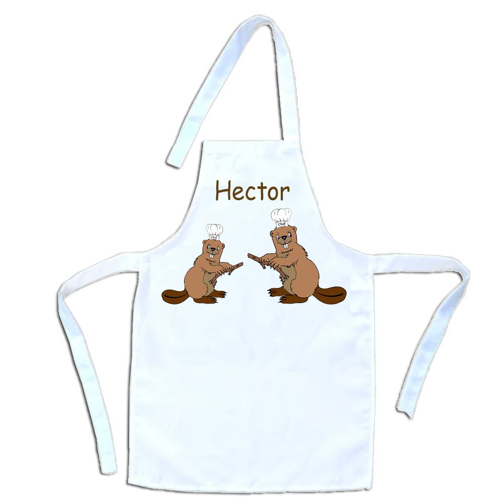 Tablier de cuisine enfant Castor personnalisable avec un Prénom exemple Hector