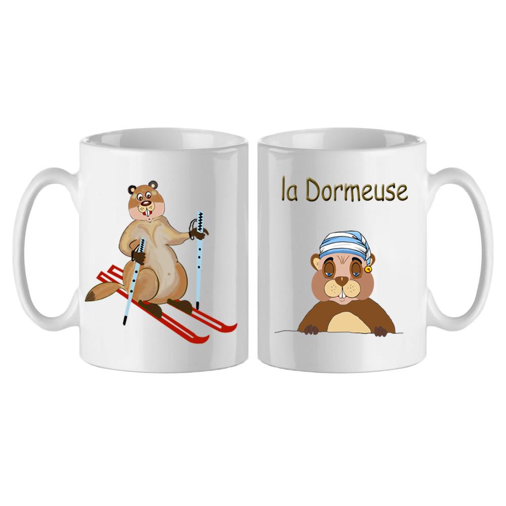 Mug Tête de Marmotte au ski personnalisé exemple La dormeuse
