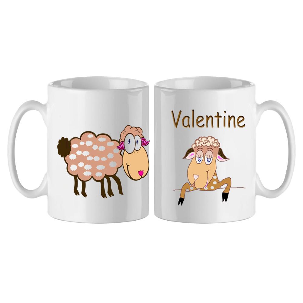 Mug Tête de Mouton personnalisé avec un prénom exemple Valentine