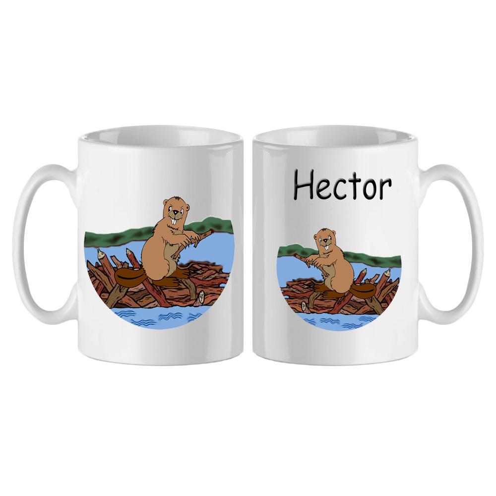 mug-castor-blanc-personnalisable-texticadeaux-personnalisation-personnalise-tasse-animal-riviere-lac-etang-plaine-bois-barrage-nature-prenom-hector
